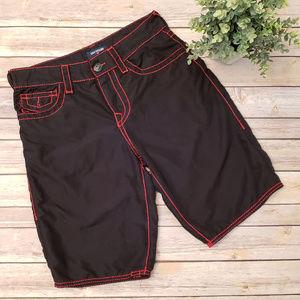 62b34add26 True Religion Black Red Swimwear Board Shorts 29